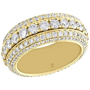 14K Yellow Gold Full Diamond Eternity Ring Anniversary Gift Engagement Bridal Wedding Rings Jewelry Size 5-10