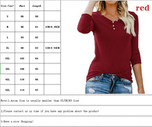 Load image into Gallery viewer, Autumn and Winter Women Solid Color Long Sleeve Bottoming Shirt Ladies V Neck Button Slim Fit Plus Size Tops S-5XL