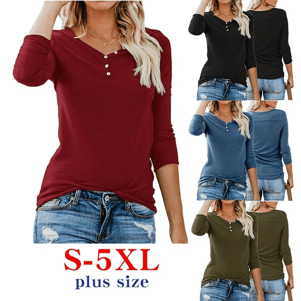 Autumn and Winter Women Solid Color Long Sleeve Bottoming Shirt Ladies V Neck Button Slim Fit Plus Size Tops S-5XL
