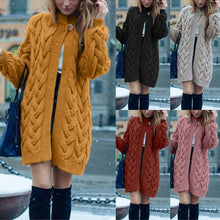Load image into Gallery viewer, 5 Solid Colors New Women Spring Autumn Knit Cardigan Long Coat Long Sleeve Sweater Causal Loose Sweater Coat Outwear Overcoat 0S~5XL