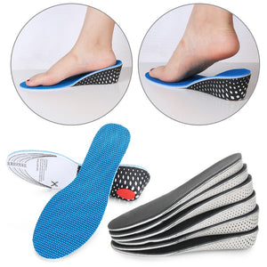 Memory Foam Invisible Height Increase Insoles Elastic Shock Absorbing Shoe Inserts Soft Breathable Orthotic Insoles
