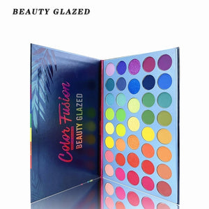 Beauty Glazed Neon Eyeshadow Palette 39 Colors Rainbow Matte Highlighter Pigment Yellow Green Colorful Eye Shadow Summer Festival Nude Eyeshadow Palette