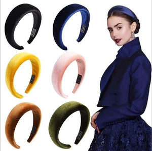 Women's Velvet Headband Padded Hoop Multicolor Hairband Wide Hair Hoop Accessories Headpiece