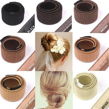 Load image into Gallery viewer, Women Hair Styling Hair Donut Former Foam French Twist Magic DIY Tool Bun Maker Clip Curler Roller Tool Hair For Girl Ladies