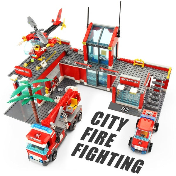 Toys 744pcs Fire Station Truck Helicopter Building Blocks for Children  City Car Firefighter Figure Set Bricks