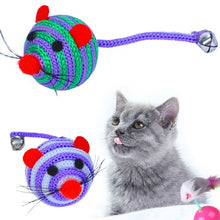 Load image into Gallery viewer, Cute Cat Bite Play Toy Mouse Straw Ball Mouse Tail With Bells Nylon Mouse Ball Training Rat Cat Interactive Toy