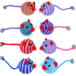 Cute Cat Bite Play Toy Mouse Straw Ball Mouse Tail With Bells Nylon Mouse Ball Training Rat Cat Interactive Toy