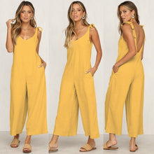 Load image into Gallery viewer, Women  Summer Fashion Jumpsuits  Cotton Rompers Overalls Sleeveless Wide Leg  Tied Bandwidth Casual Jumpsuits