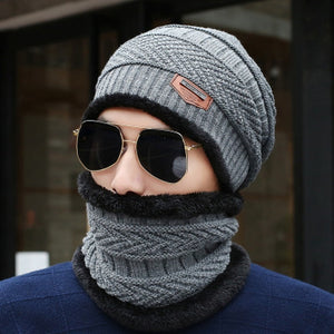 Winter New Windproof Scarf Men and Women Hat Wool Hat Winter Hat Hot Peas Hat Hooded Scarf Knit Hat