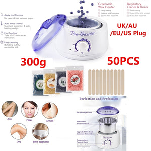 New Hair Removal Electric Home Waxing Kit Hot Wax Warmer Wax Heater Rapid Melt Hard Wax with 300g Hard Wax Beads and Wax Applicator Sticks 50 PCS For Women and Man