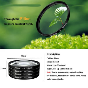 New 37mm / 40.5mm / 43mm / 46mm / 49mm / 52mm / 55mm / 58mm / 62mm / 67mm / 72mm / 77mm / 82mm Macro Close-Up Filter Lens Kit for Nikon Canon Sony Pentax Fuji Olympus Panasonic  Camera DSLR SLR