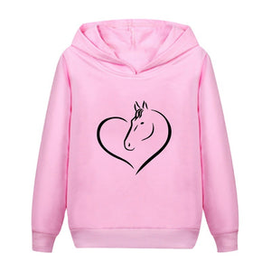 New Fashion Horse Heart Printed Kids Hoodies Casual Cotton Hooded Sweatshirt Pullover Tops for Boys and Girls
