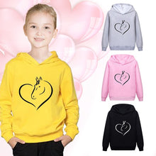 Load image into Gallery viewer, New Fashion Horse Heart Printed Kids Hoodies Casual Cotton Hooded Sweatshirt Pullover Tops for Boys and Girls