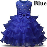 2019 Flower Girl Dress Wedding Ball Gown Kids Sleeveless Bowknot Layered Cake Dress for Birthday Party Pageant