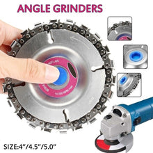 Load image into Gallery viewer, 4/4.5/5 Inch Grinder Chain Disc Wood Carving Disc Saw Blade Fine Cut Chain Set for 100/115/125 Angle Grinder