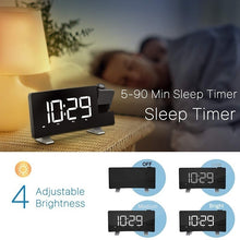 Load image into Gallery viewer, New Newest Multifunctional Projection Digital Clock FM Radio Alarm Clock with USB Charging Port