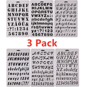 Plastic Letter Stencils Alphabet Number Drawing Painting Template for Scrapbook, Graffiti, Card and Craft Projects