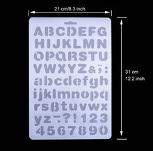 Load image into Gallery viewer, Plastic Letter Stencils Alphabet Number Drawing Painting Template for Scrapbook, Graffiti, Card and Craft Projects