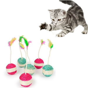 Pet Cat Kitten Toy Rolling Sisal Scratching  Cat Toy Funny Kitten Play Dolls Becudda