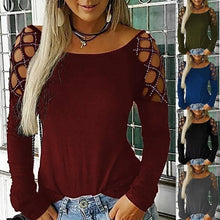 Load image into Gallery viewer, New Casual Blouse Long Sleeve Tops for Women Fashion Ladies Off Shoulder Hollow Out Pure Color Summer Autumn T Shirts Tops Blouses Size XS-5XL