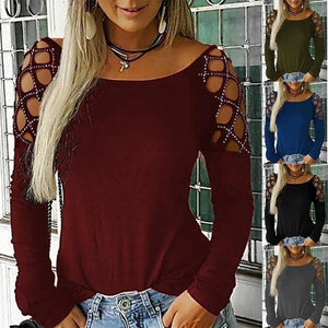 New Casual Blouse Long Sleeve Tops for Women Fashion Ladies Off Shoulder Hollow Out Pure Color Summer Autumn T Shirts Tops Blouses Size XS-5XL