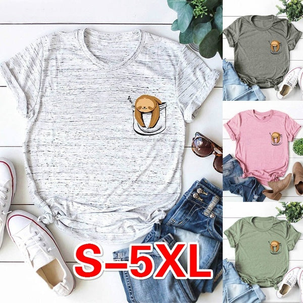 3 Color Summer New Women Fashion O-neck Short Sleeve Funny Print Shirt Cute Sloth Print Tops Summer Casual Comfort Tops Tee S~5XL
