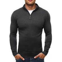 Load image into Gallery viewer, Men's V-neck Long Sleeves Pure Long Men's Sweater  with Zippers
