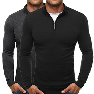 Men's V-neck Long Sleeves Pure Long Men's Sweater  with Zippers