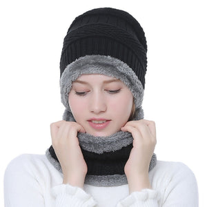 Winter Warm Knitted Hat with Scarf Set Skullies Beanies for for Men and Women Windproof Fleece Lined Bonnet Beanies Elastic Hat