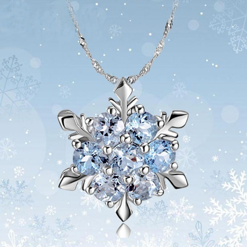 Romantic Gifts Unique Elegant Blue Crystal Snowflake Frozen Flower Silver Pendants Necklace