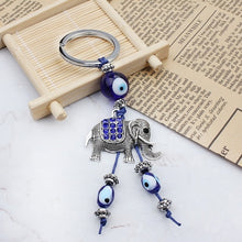 Load image into Gallery viewer, Bohemia Alloy Keychain Good Wishes Turkish Keyring Evil Eye Bead Jewelry Lucky Elephant Eye Glass Pendant Fashion Keychain Gift