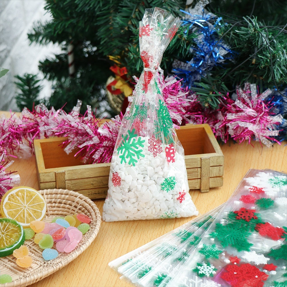 50pcs Merry Christmas Baking Packaging Bags Cartoon Christmas Santa Claus Snowman Snack Candy Bag Cookies Candy Storage Bag