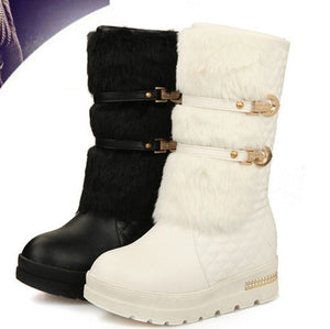 Fashion Women Winter Metal Fasteners Platform Boots Warm Fur Lined Snow Boots 2 Colors