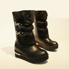 Load image into Gallery viewer, Fashion Women Winter Metal Fasteners Platform Boots Warm Fur Lined Snow Boots 2 Colors