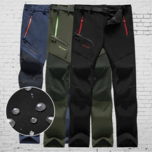 Load image into Gallery viewer, Men Outdoor Thin Waterproof Hiking Pants Trouser Male Camping Climbing Fishing Trekking Softshell Long Pants Plus Size (No Fleece)