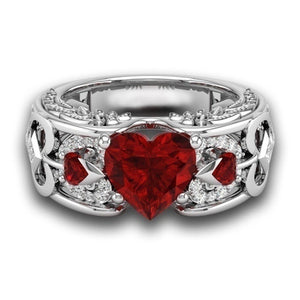 Charm Couples 1pc Ring 316L Titanium Steel Men's Ring Ruby Women's Wedding Bands Ring Size 6 - 12