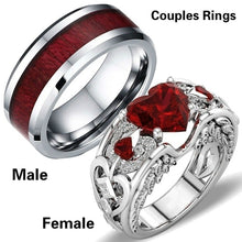 Load image into Gallery viewer, Charm Couples 1pc Ring 316L Titanium Steel Men's Ring Ruby Women's Wedding Bands Ring Size 6 - 12
