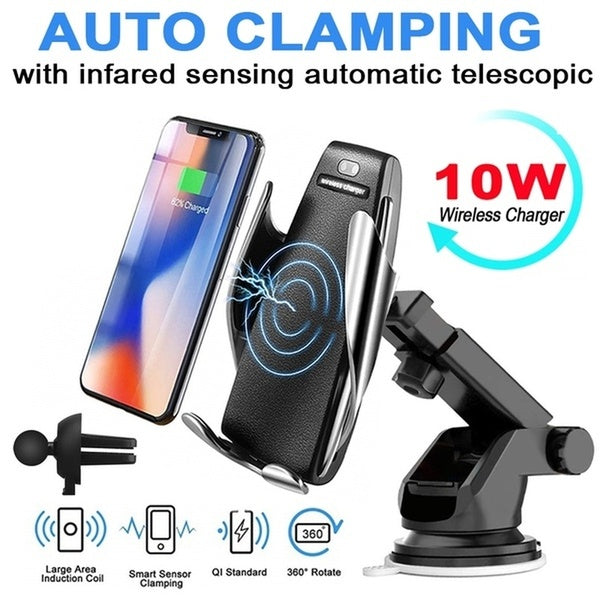 New Automatic Induction Car Charger Qi Wireless Charger Charging Stand for Iphone X Xs Max Xr 8plus Samsung S9 S8 Fast Charger Dock Suction cup with bracket