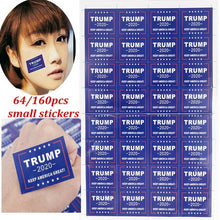 Load image into Gallery viewer, 64/160pcs Trump 2020 Waterproof Stickers Keep America Great For Body Face Clothes