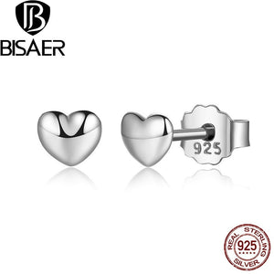 BISAER 100% 925 Sterling Silver Petite Plain Hearts Stud Earrings for Women Small Earrings Fine Jewelry