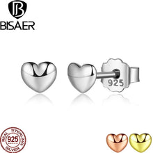 Load image into Gallery viewer, BISAER 100% 925 Sterling Silver Petite Plain Hearts Stud Earrings for Women Small Earrings Fine Jewelry