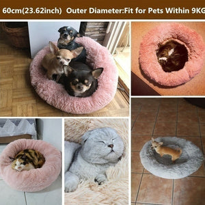 Round Dog Bed Washable Long Plush Dog Kennel Cat House Super Soft Cotton Mats Sofa for Dog Chihuahua Dog Basket Pet Bed