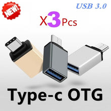 Load image into Gallery viewer, Upgrade 3PCS USB 3.0 Type-C or Micro USB OTG Cable Adapter Type C or Micro USB OTG Converter
