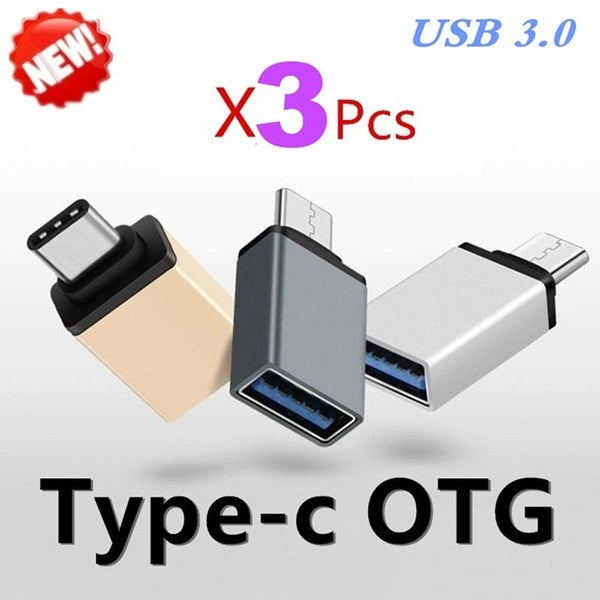 Upgrade 3PCS USB 3.0 Type-C or Micro USB OTG Cable Adapter Type C or Micro USB OTG Converter