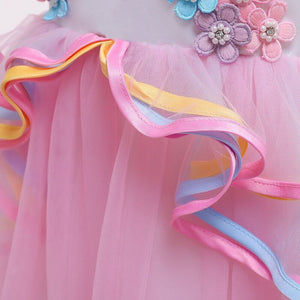 2019 Children Fancy Unicorn Cosplay Princess Costume Pink Sleeveless Long Dress for Carnival Halloween Birthday Xmas Party