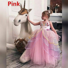 Load image into Gallery viewer, 2019 Children Fancy Unicorn Cosplay Princess Costume Pink Sleeveless Long Dress for Carnival Halloween Birthday Xmas Party