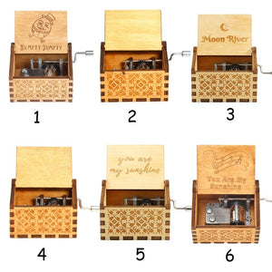 Wooden Hand Crank Music Box TV Series Movie Theme Birthday Holiday Gifts
