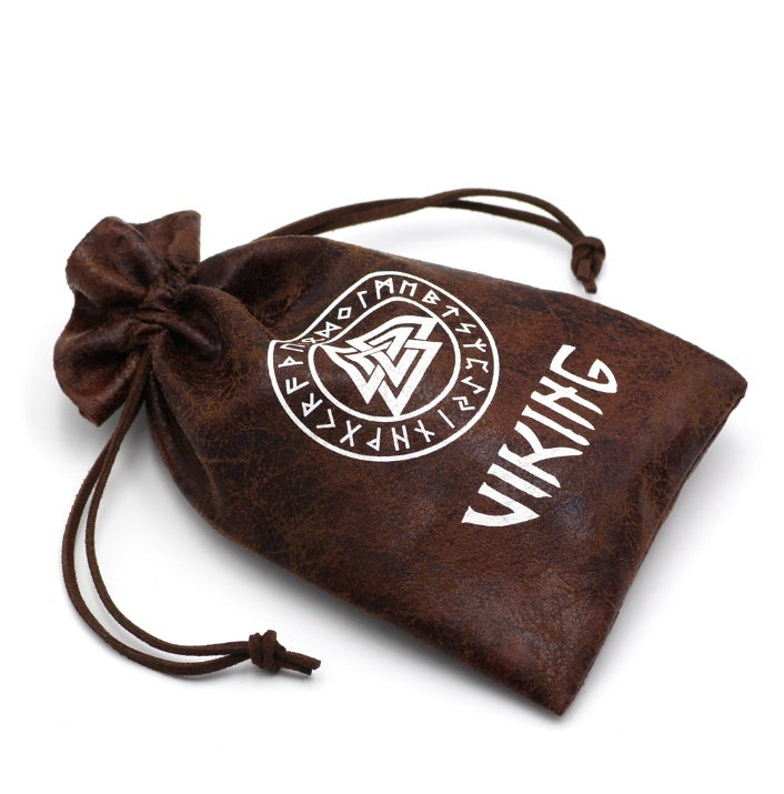 Vintage Nordic Viking Valknut Rune Compass Pendant Necklace Men's Fashion Stainless Steel Pagan Amulet Vegvisir Jewelry Pendant Necklace with Viking Gift Bag