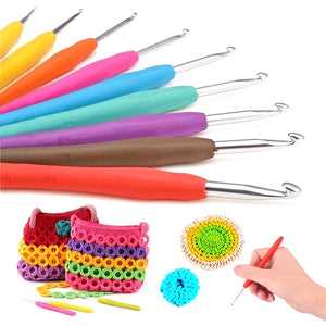 1 Pc Multicolor Knitting Needles Soft Grip with Ergonomic Handle Crochet Hook Yarn Weave Crochet Needles DIY Craft Tools