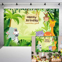 Load image into Gallery viewer, Fun Jungle animals Photography backdrops Happy Birthday Photo Background Party Decoration